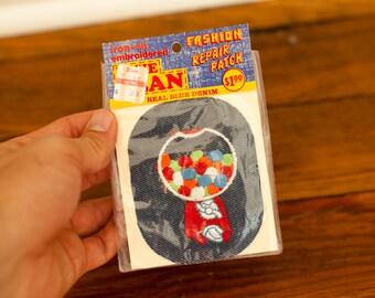 Vintage Gum Ball Machine Denim Patch - iron-on embroidered