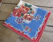 Floral Ladies Handkerchief, Red Blue Hankie, Pocket Hankie, Ladies Hanky, Gift for Her