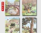 "Winnie the Pooh Prints, Nursery Wall Art (Classic Boys Room Decor, Girls Room Decor) --- ""Winnie Has Fun"" (Set of 4) SALE"
