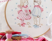 Christmas gift, Diy kit, Hand embroidery, Christmas craft - Winter Girl and Boy - Embroidery kit, Broderie, Modern embroidery kit