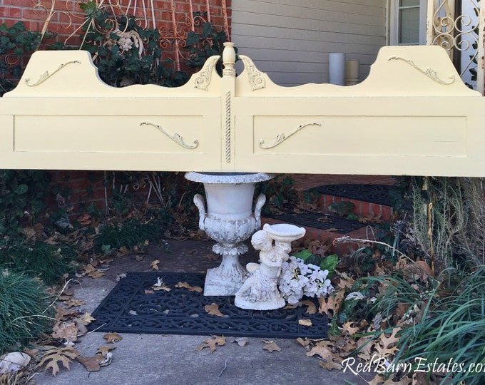 KING HEADBOARD Painted Distressed Shabby Chic FURNITURE - Reclaimed Antique Furniture Oak