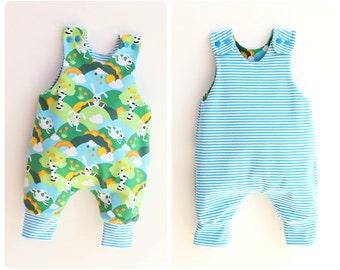 JUMPY Baby Romper sewing pattern, REVERSIBLE Harem romper pattern Pdf, Children Baby Boy Girl romper, Toddler romper, newborn to 6 years