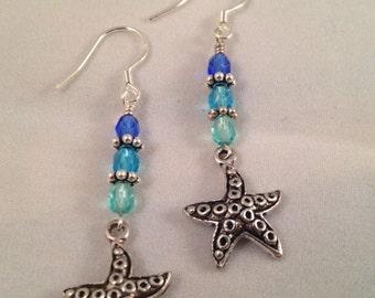 Starfish with Blue Green Czech Glass Beads Dangle Earrings SS French Hooks
