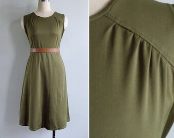10 to 25% OFF (See Shop) Vintage 70's 'Miss Moss' Olive Green Polyester Knit Dress S or M