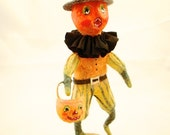Spun cotton Halloween Jack O' Lantern decoration figure OOAK vintage craft by jejeMae