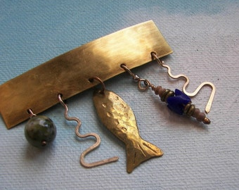 """Vintage Fish Bar Pin, Going Fishing"""" Pin, Dangling Fish and Bead Brooch, Fish Lovers Pin, Child's Jewelry"""