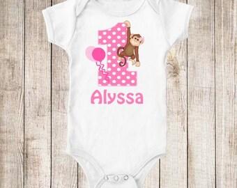 1st Birthday Pink Monkey Personalized Birthday Shirt - ANY Age