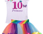 Butterfly 10th Birthday Outfit Rainbow Tutu butterfly Butterfly Birthday Monarch Butterfly, Butterfly Tutu, Rainbow tutu outfit, 10