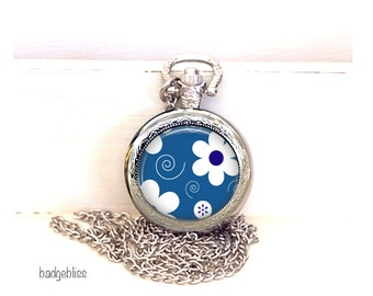 Pocket watch necklace, Blue and White floral pocket watch necklace