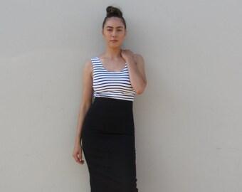 Denim pencil skirt Vintage black high waist skirt
