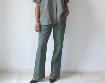 Vintage linen blouse Short sleeve v neck linen top Minimalist loose fit top