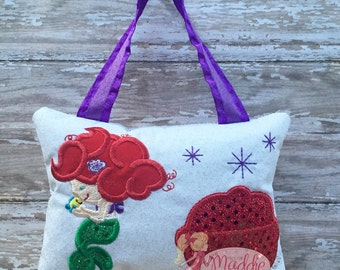 Personalized Girls Tooth Fairy Pillow Embroidered, Princess Tooth Fairy Pillow, Keepsake Tooth Fairy Pillow