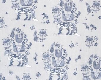 Kokka Japanese fox fabric - Scandinavian Diary - lightweight canvas - 1/2 YD