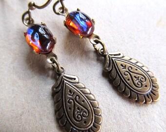 Gothic Dragons Breath Opal Earrings Mexican Fire Opal Earrings Opal Earrings Fire Opal Earrings Art Deco Earrings Art Nouveau Earrings- Fire