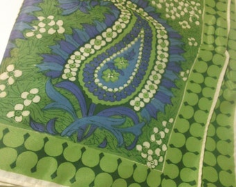 Blue and Green Floral Paisley Print Scarf ~ Vintage Vera Psychedelic Botanical Print Scarf