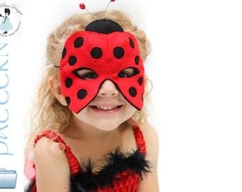 Ladybug Mask Pattern.  INSTANT DOWNLOAD sewing pattern for ladybug animal mask kids costume.