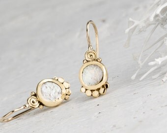 Bridal Earrings, Romantic Earrings, Elegant Earrings, Fine Gold Jewelry, 22k Solid Gold Earrings, Pearls Earrings, Anniversary gift, for her