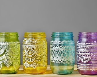 Festive Spring Mason Jars- Handpainted Easter Inspired Mason Jars with Pearl White Detailing
