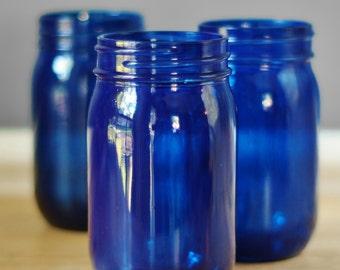 Set of Three Cobalt Blue Mason Jar Vases, Hand Painted Glass Tint