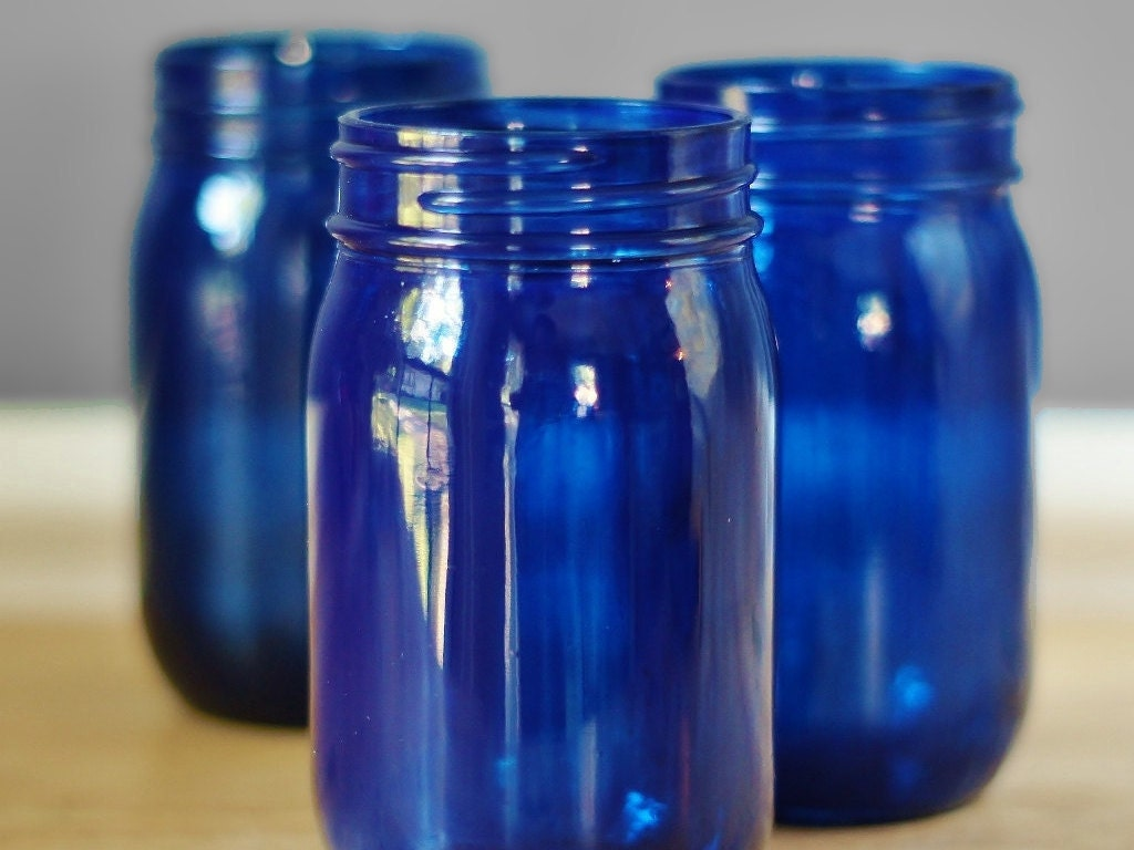 Set Of Three Cobalt Blue Mason Jar Vases Hand Painted Glass