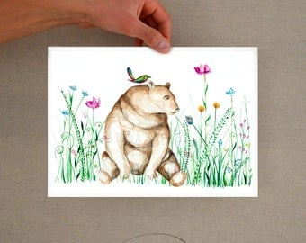 Bear floral print - For kids, art print, bear illustration, floral print, art, bear wall decor, watercolor bear print, watercolor bear print