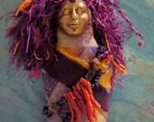 The Goddess Gaia, Batik, Suede, Garnet, Talisman, Spirit Doll