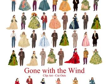 Gone with the Wind Printable Dolls Scarlet O'Hara - Rhett Butler 42 Art Dolls Digital Downloads GWTW Scrapbooking Collage Craft