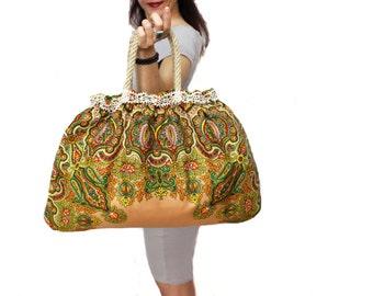 Cotton shoulder bag floral tote, rope handle organic large hobo bag, vibrant color, brown summer bag, gift for her, mothers day gift