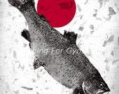 TROUT of the RISING SUN  - Gyotaku traditional Japanese fish art - by dwight hwang