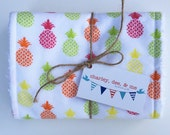 Pineapple Burp Cloths Baby Girl Newborn Gift Tropical Beach Theme Orange Lime Yellow Pink White Burpie Burpees Set of 2, Colorful Pineapples
