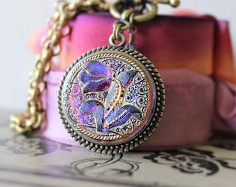 Tulip Art Glass Necklace Pendant Large, Blue Violet Fuchsia Glass Jewelry, Glass Pendant Necklace Toggle, Button Jewelry veryDonna Sutor