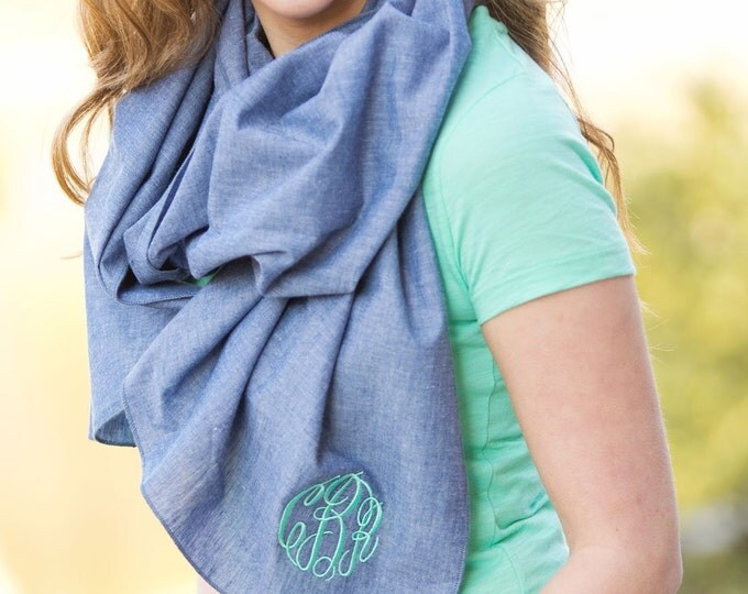 Monogram Scarf, Chambray Scarf, Monogrammed Scarf, Bridesmaid gift, Monogrammed gifts, Christmas gifts