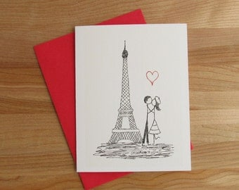 Canoodle Doodle No. 9 - Paris Eiffel Tower // Romantic Valentine, Birthday, Anniversary, Engagement, or Bridal Shower card for Him or Her