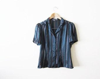 Vintage Blouse / Dark Green Short Sleeve Top / Striped Shirt / Womens Blouse