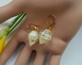 Gold earrings gold Filled earrings 14k crystal point Statement earring Geometric dangle earrings Crystal white Baby's Breath resin jewellery