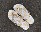 Gold Flip Flops,Bridesmaid Gift,Wedding Shoes,Reception Shoes,Wedding Flats,Bridal Party Gift,Floral Flip Flops, Rose Gold Flats,Beach,Bride
