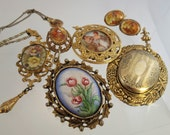 FREE Shipping Vintage Classicical Pendant 9 Painted Cameo Picture Necklace Earrings Lot of Costume Jewelry Locket Charm