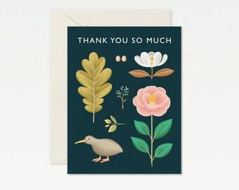Kiwi Botanical Thank you Card