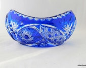 Blue Crystal Oblong Bowl, Crystal Dish, Gondola