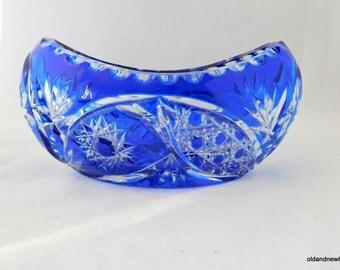 Bohemian Crystal Bowl, Blue Crystal, Oblong Bowl, Crystal Dish, Gondola,