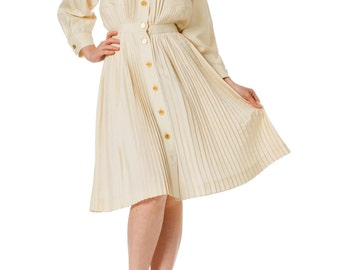 1970s Vintage Nina Ricci Pleated Ivory Dress  Size: XS/S