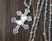 RESERVED FOR EP - French Antique Joan of Arc Cross of Lorraine Necklace, Pyrite Gemstone Chain