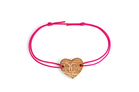Heart bracelet with lace pattern - 25 colors - wedding bangle - adjustable bracelet - lasercut maple wood - bride jewelry - customizable