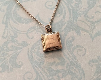 Antique Locket, Tiny Silver Square Locket with Stripes, Baby Locket, Petite Locket, Gift for Her