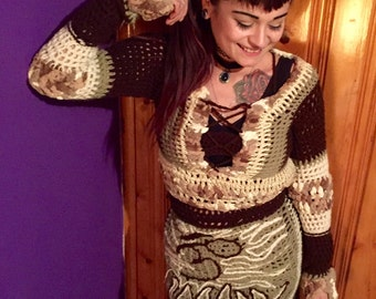 Lotus Sweater Dress Set, Free Form Crochet Sweater Set