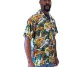 90s Hawaiian Silk Shirt, Green Aloha Shirt, Silk Island Shirt, Men's Size Medium, Short Sleeve Hawaiian Shirt M