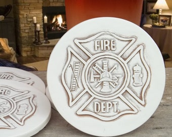Fireman Drink Coasters, Fire Department, Absorbent Coasters, Firefighters, Tableware, Barware