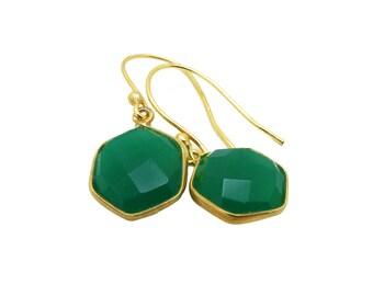 Green Onyx Earrings, Gemstone Dangle Earrings, Green Stone Earrings