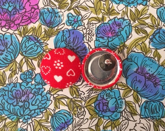 Button Earrings / Red Hearts / Fabric Covered / Wholesale Jewelry / Small Gifts / Anniversary Present / Love / Stud Earrings