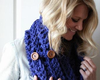 Cobalt Crochet Scarf Chunky Infinity Fashion Cowl